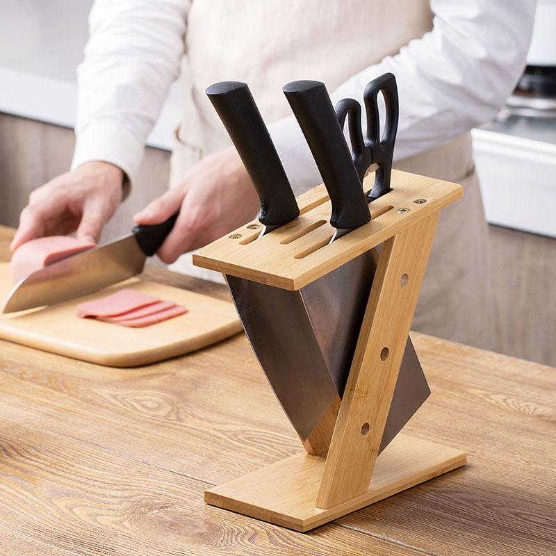 居家家 楠竹交叉刀架厨房刀具收纳架 家用刀座置物架菜刀架插刀架限8000张券