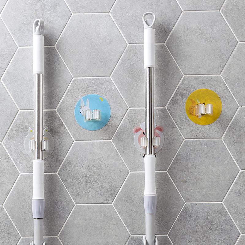 居家家免打孔粘胶拖把挂架卫生间扫把挂钩浴室粘贴壁挂无痕拖把夹