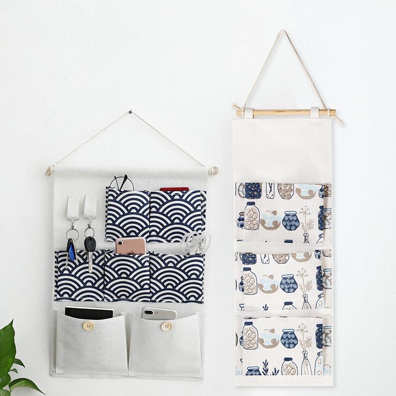 居家家棉麻防水收纳挂袋门后悬挂式挂兜宿舍墙上布艺储物袋收纳袋