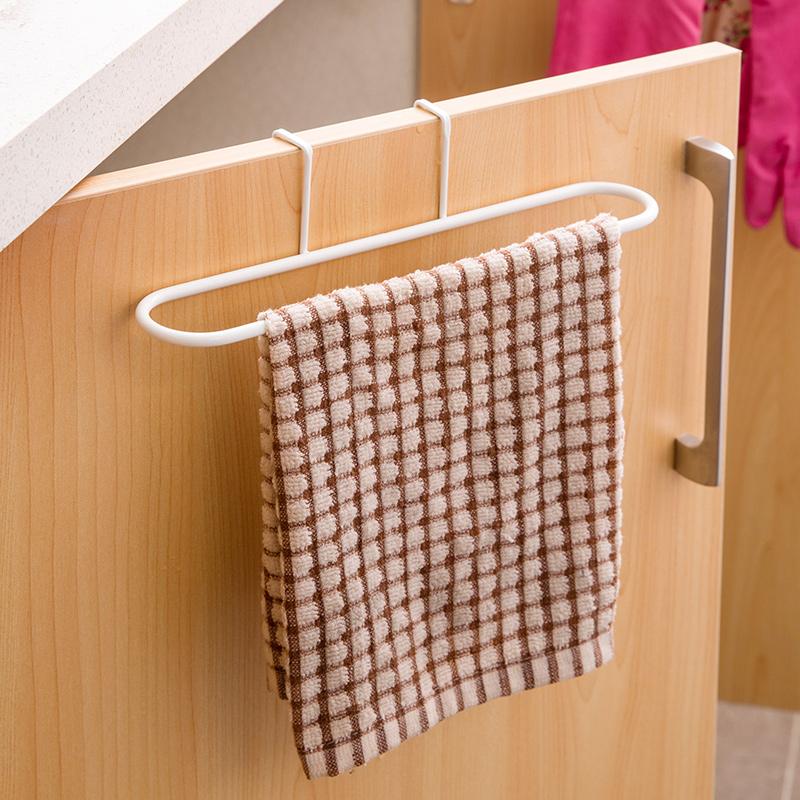 居家家 壁掛毛巾架廚房櫃門後抹布架 創意浴室掛鉤掛架掛門置物架