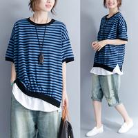 实拍文艺简约蓝黑条纹圆领短袖搭配白边宽松大码T恤9723#(50起)