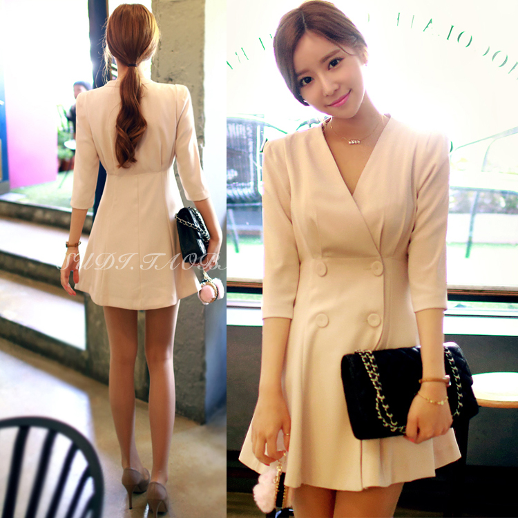 2020 spring summer autumn new slim coat V-neck double breasted ol suit shoulder pad 3 / 4 sleeve sexy dress