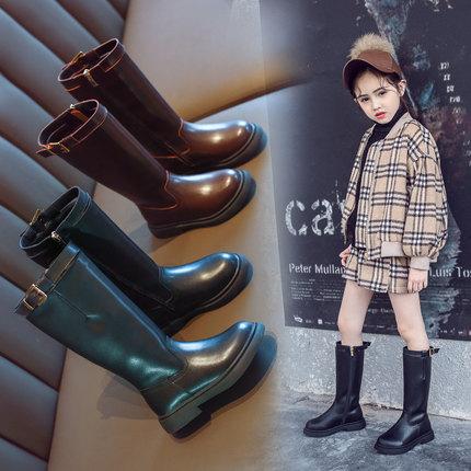 小米步2018秋冬季新款女童靴子儿童加绒过膝高筒靴女孩洋气长皮靴