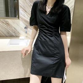欧洲站2020秋季新品高腰V领连衣裙小黑裙赫本风复古气质显瘦包裙