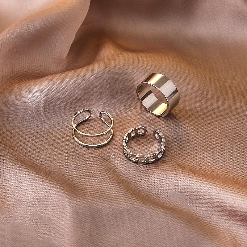欧美新款几何圆形戒指套装网红气质简约开口白金女式指环三件套