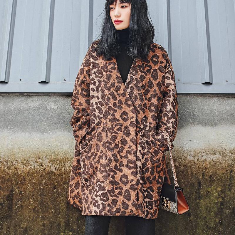 2017冬季新品女装修身羊毛尼外套热卖包邮原创复古豹纹中长款大衣