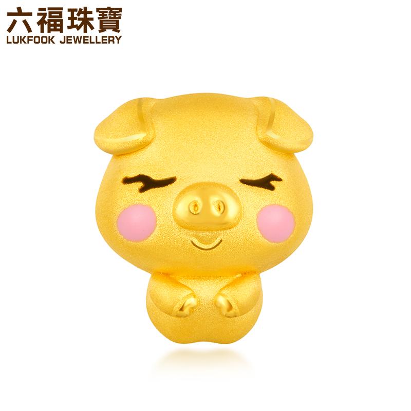 GFA1TBP0040六福珠宝十二生肖猪黄金串珠足金珐琅串饰定价