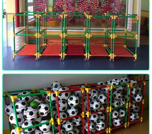 幼儿园置球架体育器材足球排球收纳筐装 球筐篮球手推车移动篮球框