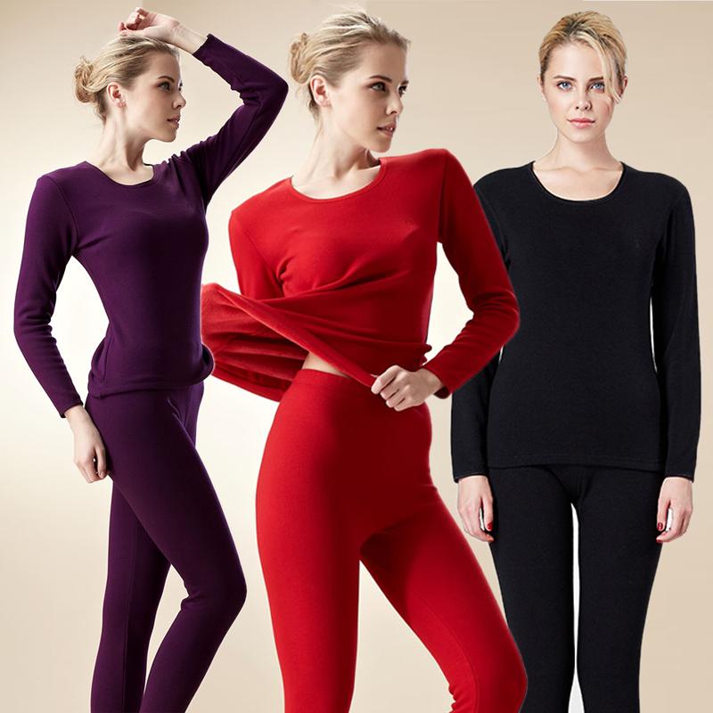 金利来红色保暖内衣女士加绒加厚秋冬季本命年套装青年棉毛衫
