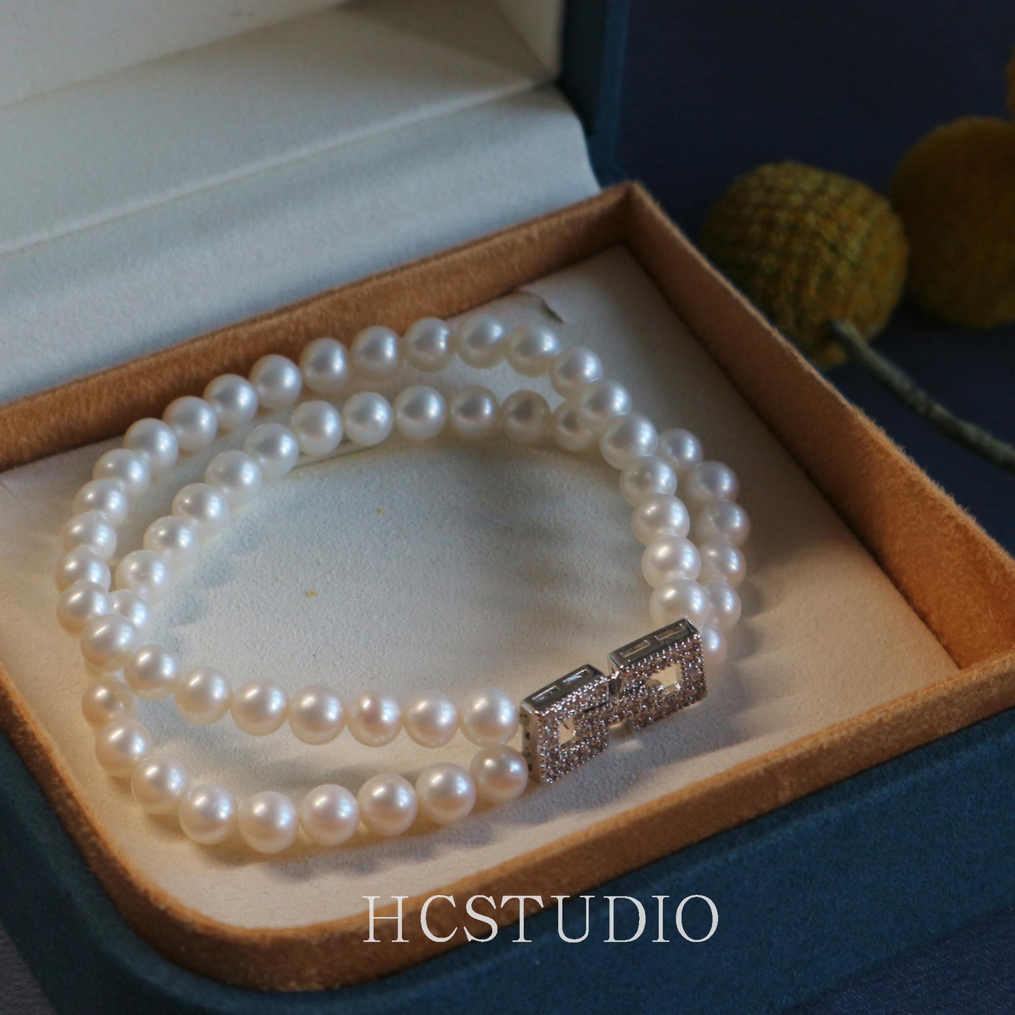 多层淡水珍珠手链女天然双层闺蜜二人款法式复古小众设计手串手镯