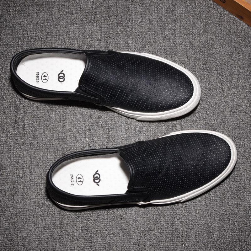 夏季皮面镂空板鞋一脚蹬懒人休闲乐福鞋青年潮流透气轻便男士皮鞋