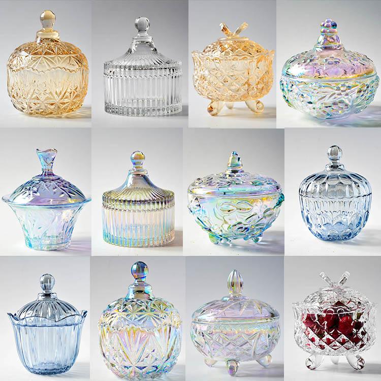 Цвет крышка стекло конфеты бак континентальный хранение бак украшение творческий декоративный в коробку прозрачное стекло приправа