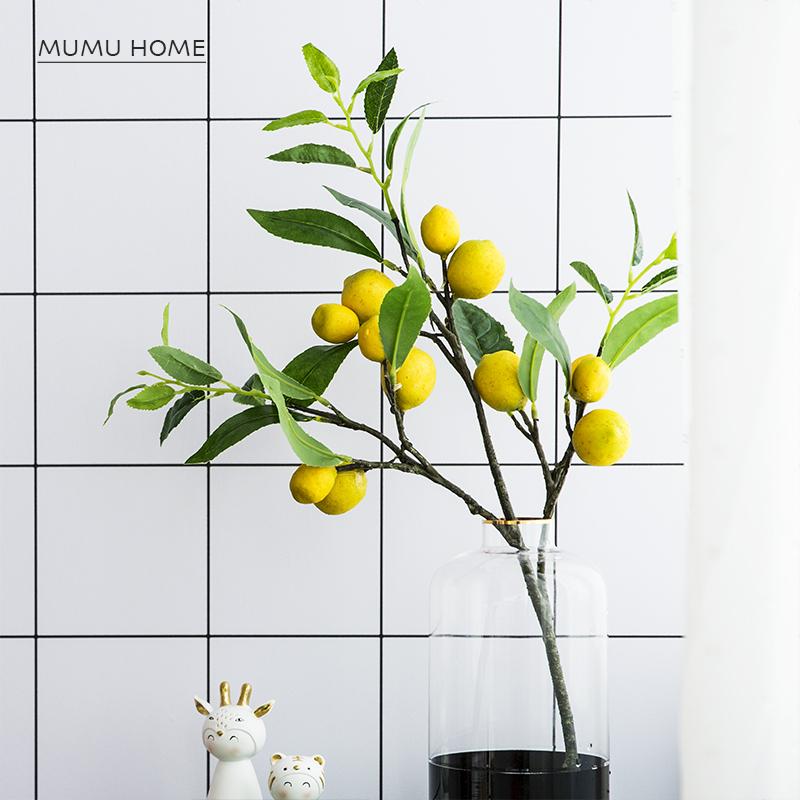 仿真树枝黄柠檬树植物绿植假花室内客厅拍照摄影道具餐桌装饰摆设