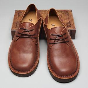 头层牛皮大头鞋工装鞋圆头低帮男士宽头皮鞋真皮复古男鞋马丁鞋潮