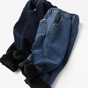 儿童加绒软牛仔裤 一体绒男童女童保暖长裤老爹裤秋冬款棉裤 童装图片