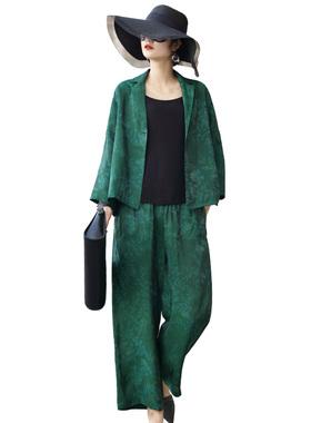 洛凡诗2020秋装新款中老年妈妈套装两件套宽松小西装外套+阔腿裤