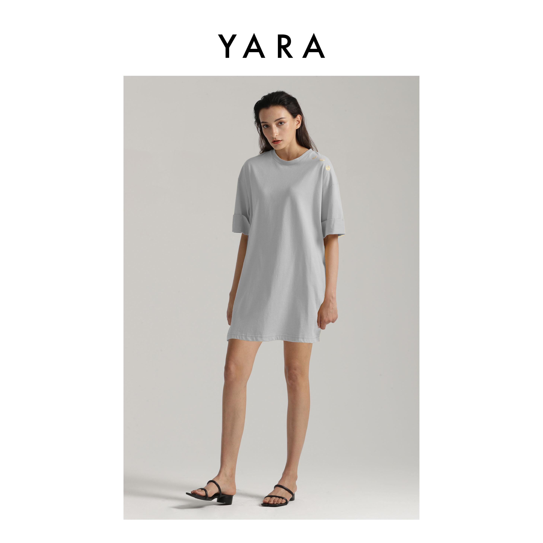 2020 cotton dress medium length summer thin t-shirt t-shirt womens split large loose short sleeve Yara Yang