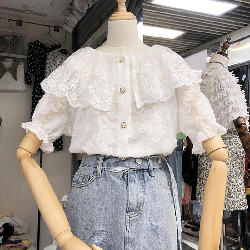 绣花毛毛流苏娃娃领短袖蕾丝衫衬衣2019夏装新款韩版打底衫上衣服