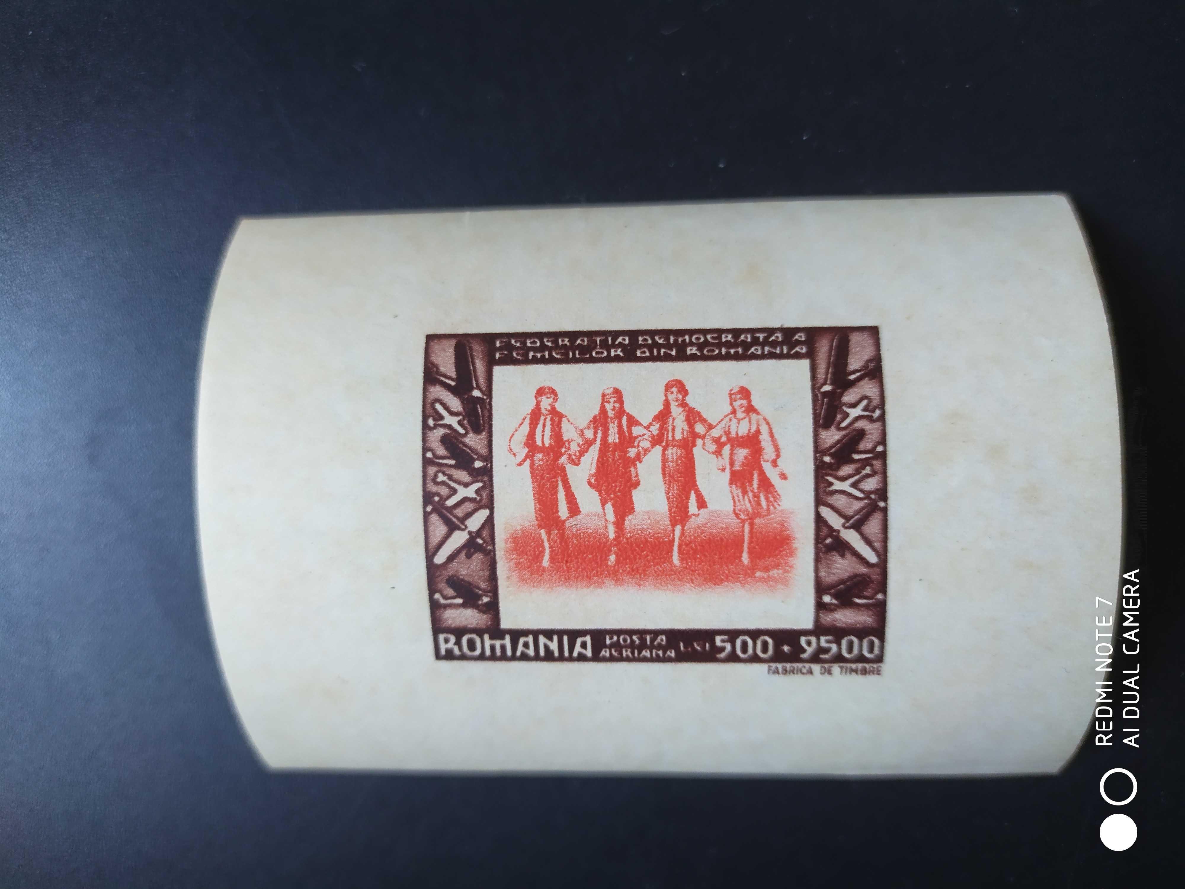 罗马尼亚1946年民主妇女联盟飞机邮票无齿张1全新(软折细小黄点)