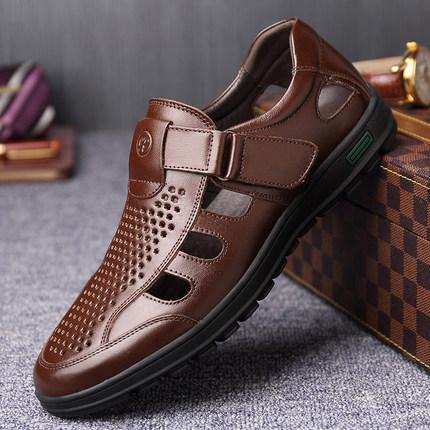 男士凉鞋真皮夏季透气镂空洞洞鞋牛皮防滑休闲中老年爸爸老人皮鞋