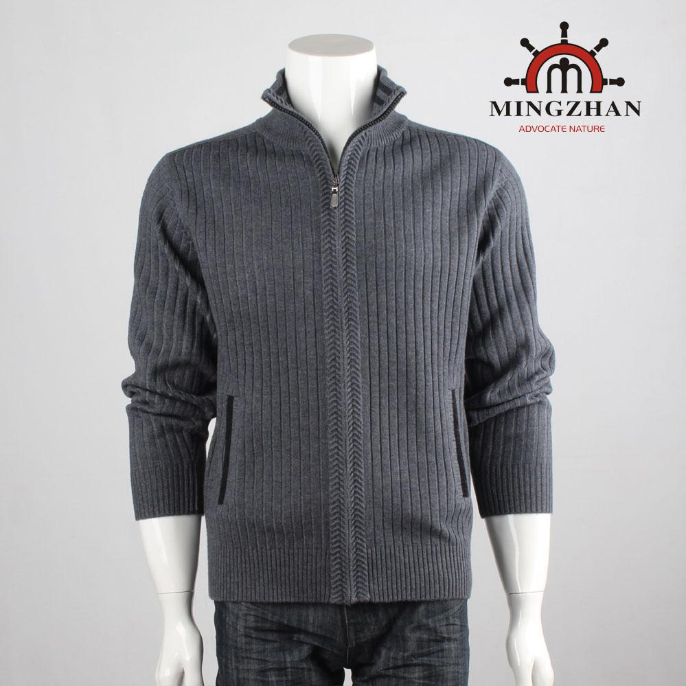 Chuanhuang brand reversible high collar thickened mens wool cardigan British style with wool sweater jacket knitted coat
