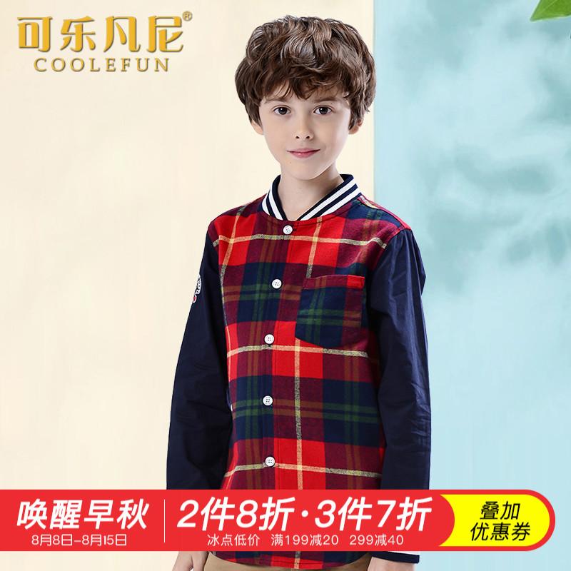 可乐凡尼 男童长袖衬衫中大童无领格子上衣春季纯棉儿童外套衬衣