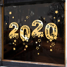 2020 Christmas New Year's Day decorations window stickers holiday atmosphere shopping malls scene decoration Christmas Glass stickers
