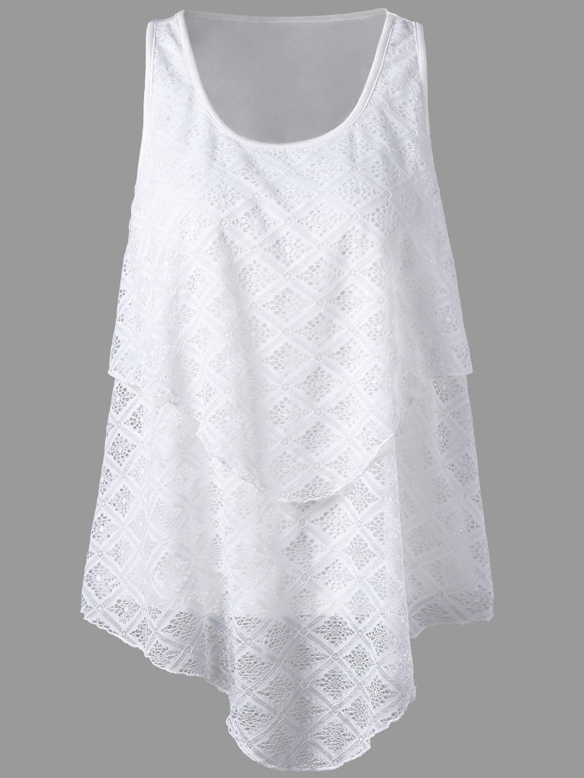 2017爆款女装新款ebay速卖通不规则下摆无袖圆领蕾丝上衣T恤9119