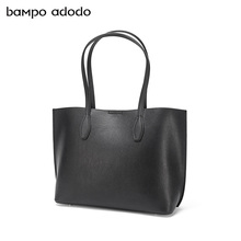 One shoulder bag large capacity cowhide new Korean version simple ol advanced sense black mother and child Bag Tote Bag