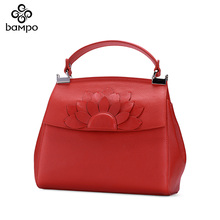 Banpo Genuine Leather Ladies Bag pure color elegant air handbag fashion simple Chinese style Kelly bag inclined shoulder bag