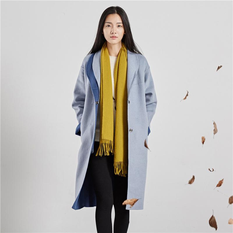 麻霖文艺原创女装2018秋冬新款纯手工双面呢羊毛大衣中长款外套女