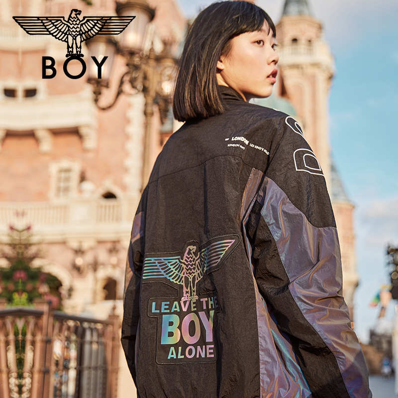 Boylondon woven jacket female hollow letter embroidery printed jacket 2020 autumn men and women the same ins style