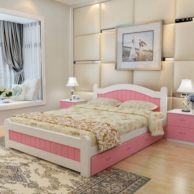 全实木床简约1.8米双人床 纯松木1.5米1.2床现代休闲时尚公主床