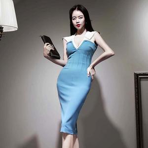 YF37032# 新款韩版女装性感V领无袖撞色收腰显瘦包臀连衣裙 服装批发女装直播货源
