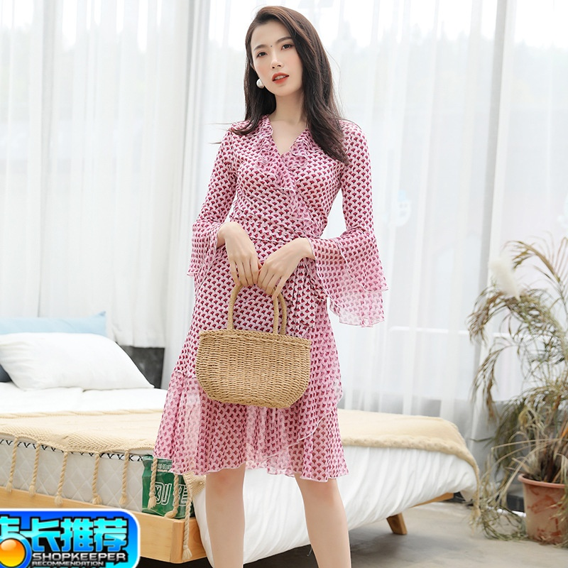Romantic pink print Ruffle Dress summer new one piece belt mid length wrap dress flared sleeves