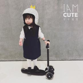 CUTE小千千宝宝marshki幼儿小童可升降折叠闪光轮三轮儿童滑板车