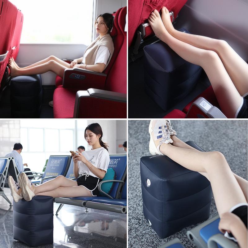 旅行充气脚垫坐火车汽车垫脚旅游长途飞机放脚足踏办公室睡觉神器