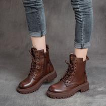 秋冬新款百搭厚底骑士靴软底真皮拉链复古短靴女2020棕色马丁靴女