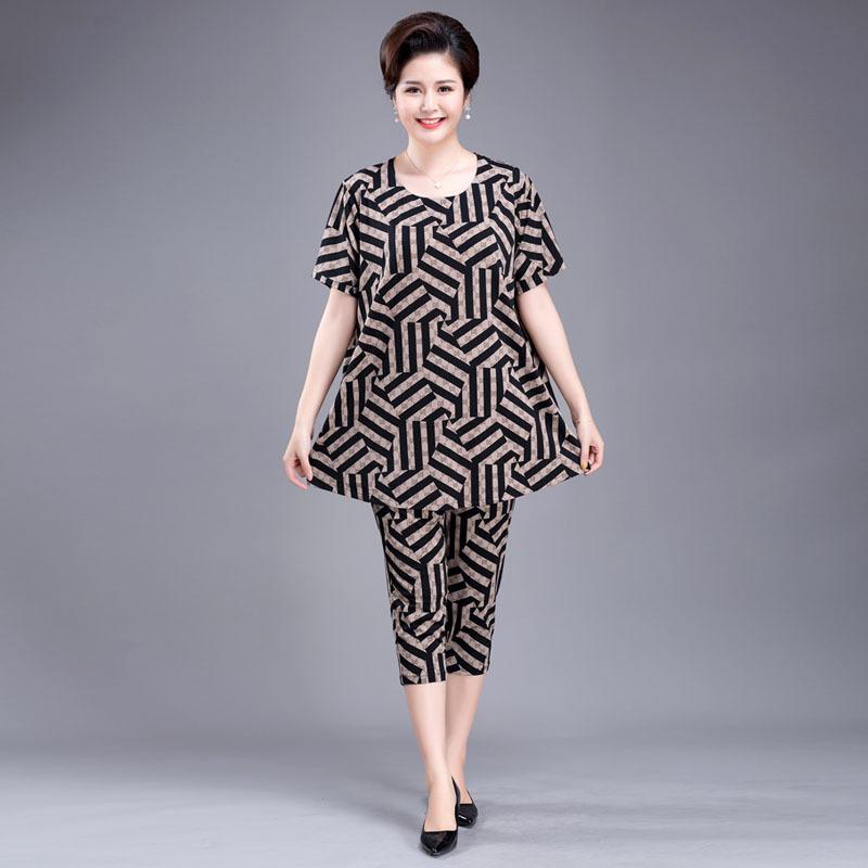 夏装套装200斤胖太太中老年女薄热销1件五折促销