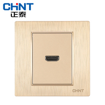Zhengtai Switch socket panel 7L Champagne wire drawing Gold HD video switch socket (HDMI) Type 86 plug