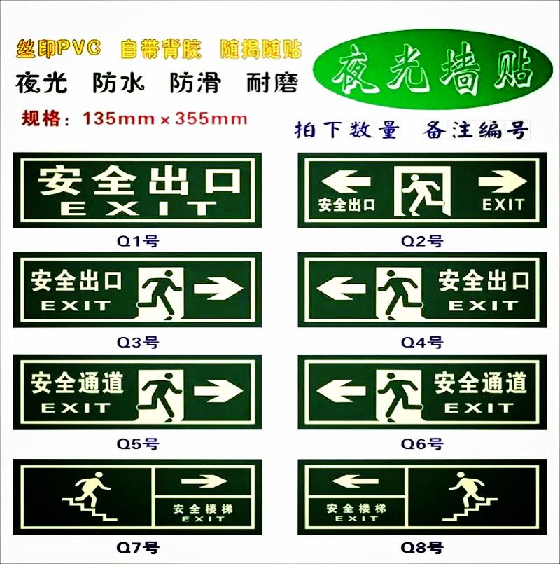 Мирно полностью Выход из лестницы стандартный Знайте знаки выхода огня и эвакуируйте ночник стандартный Стена стрелки флуоресцирования знака наклеивает инструкцию свет