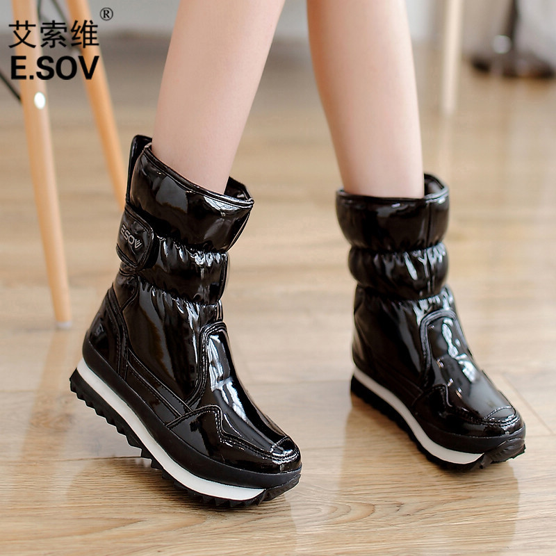 New style esoway fashion short boots cotton boots patent leather antiskid snow shoes waterproof warm snow boots women