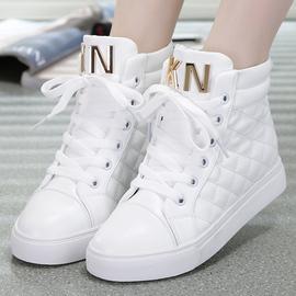 春秋季平底高帮休闲鞋女鞋白色学生板鞋40码加绒棉鞋厚底高邦鞋女