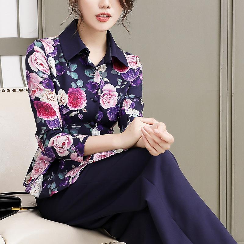 西装套装阔腿女春秋装气质两件套高端洋气时尚韩版修身显瘦花西服