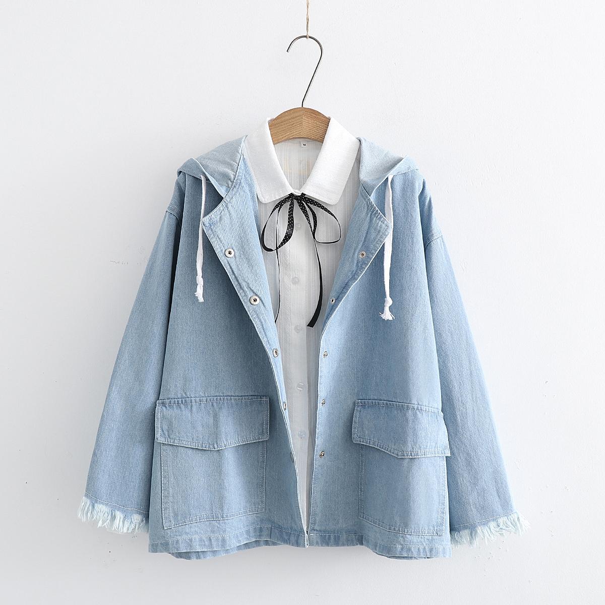 2018春装新款女装日系童趣风学生宽松毛边袖牛仔衫 大口袋外套