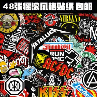 包邮 摇滚贴纸 一套48张 箱贴 吉他贴纸 电脑贴纸 摇滚重金属风格价格图片_乐多购物网