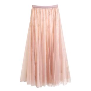 2020新款秋季韓版中長裙網紗裙高腰蕾絲大擺裙公主仙女半身裙子