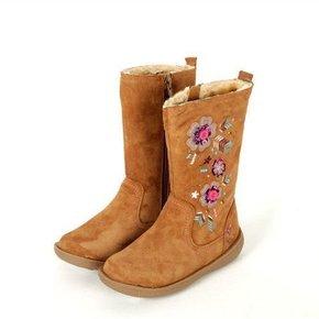 秋冬季驼色牛皮平跟新款特价绣花女童中筒靴牛筋底外贸原单欧美风