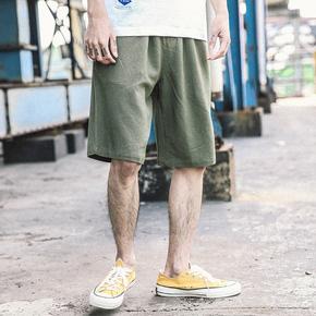 东京衣柜男装日系直筒宽松亚麻休闲短裤夏季男士韩版潮流五分裤男