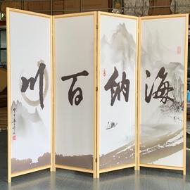 实木屏风隔断玄关松木油画布精细微喷加高款可选择图案图片